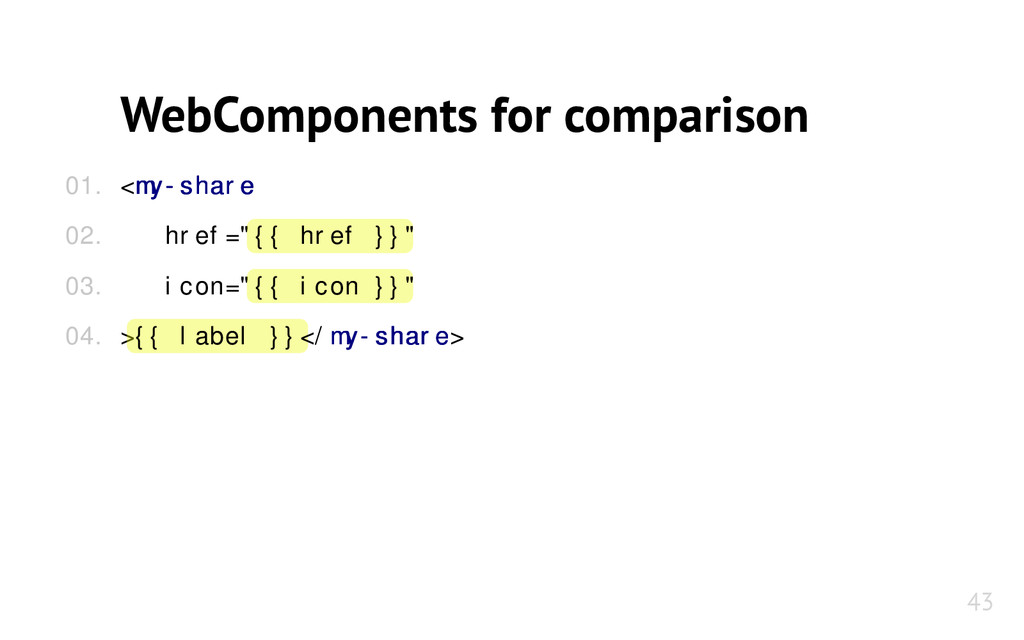 WebComponents for comparison <my-share my-share...