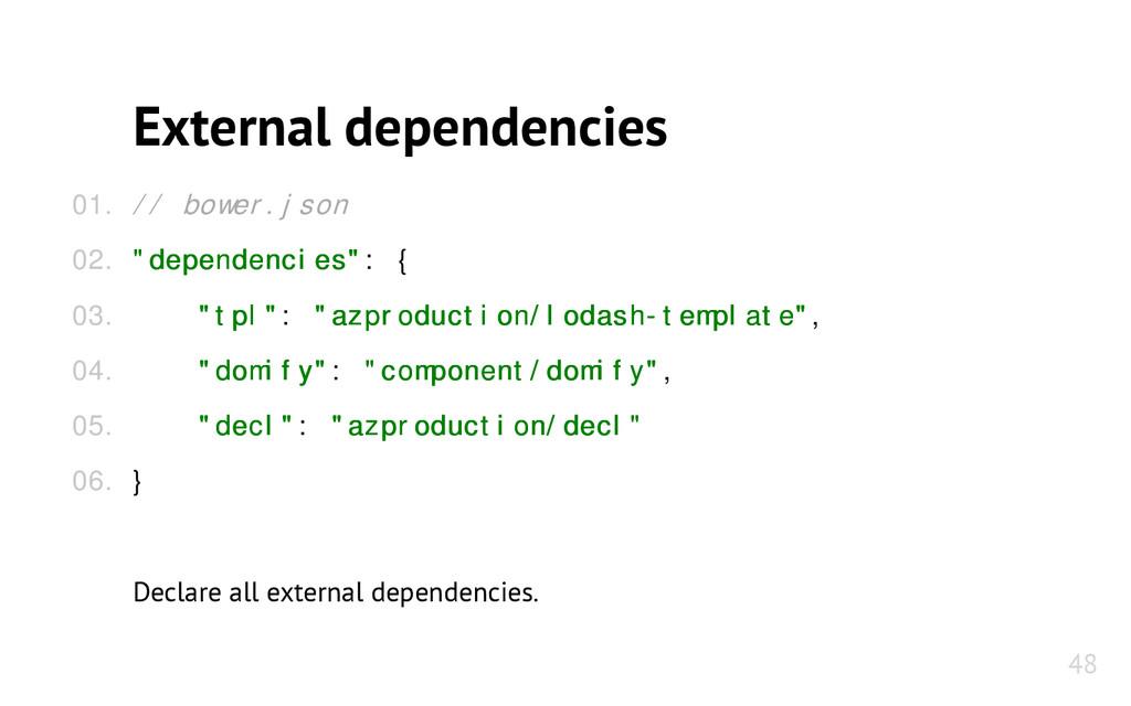 "External dependencies // bower.json ""dependenci..."