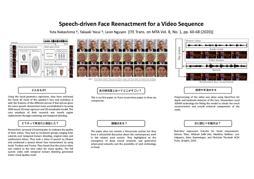 Speech-driven Face Reenactment for a Video Sequ...