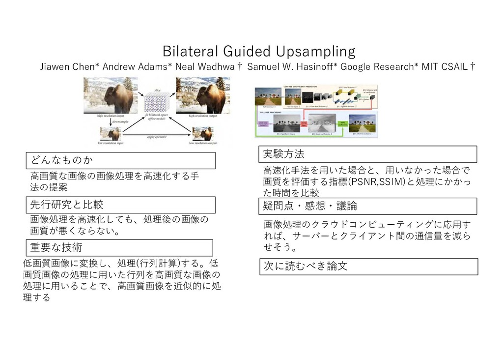 Bilateral Guided Upsampling 先行研究 比較 重要 技術 実験方法 ...