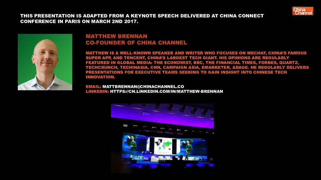 MATTHEW BRENNAN CO-FOUNDER OF CHINA CHANNEL MAT...