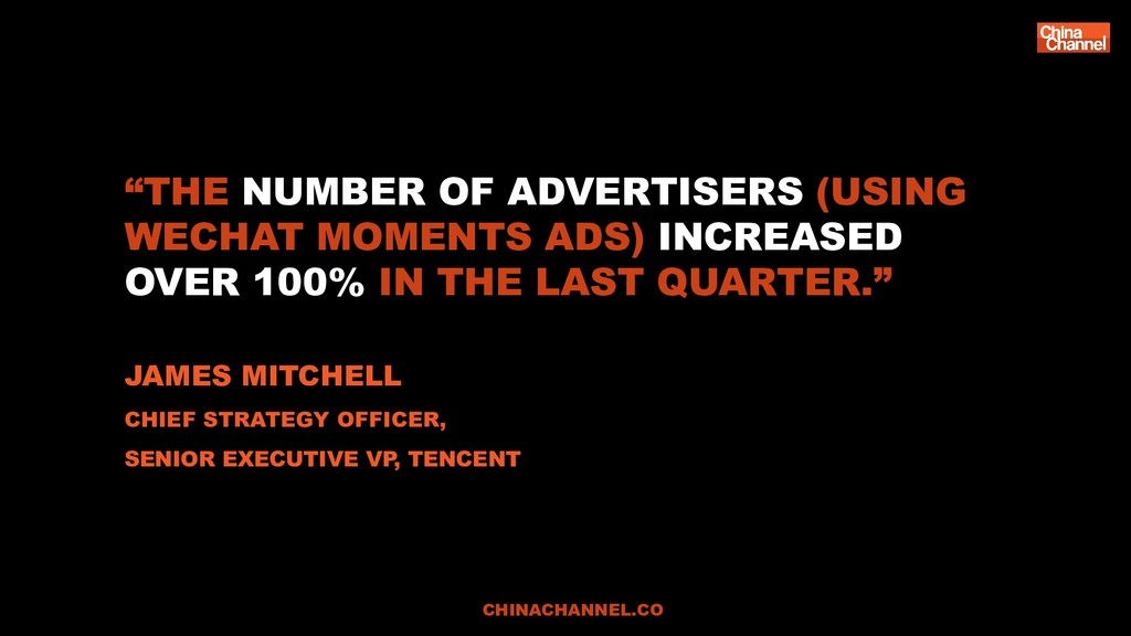 """THE NUMBER OF ADVERTISERS (USING WECHAT MOMENT..."