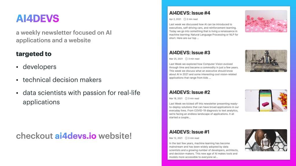 AI4DEVS a weekly newsletter focused on AI appli...