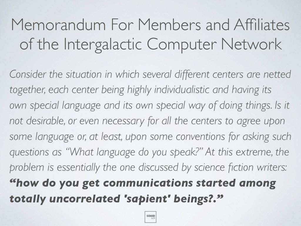 Memorandum For Members and Affiliates of the Int...