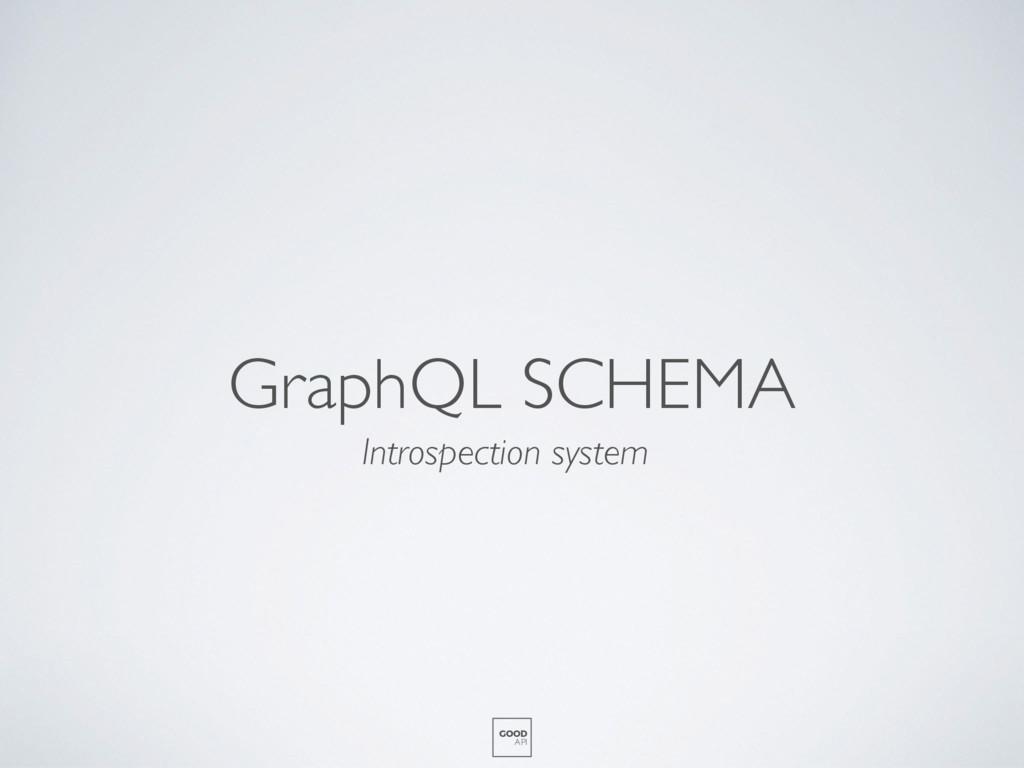 GraphQL SCHEMA GOOD API Introspection system