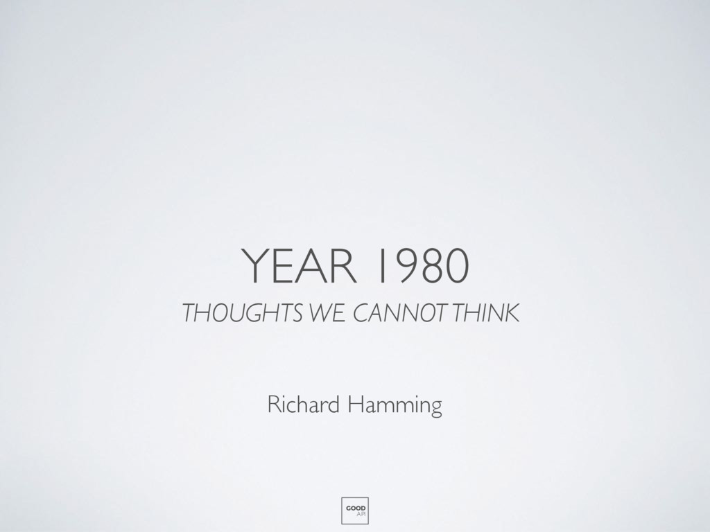 YEAR 1980 THOUGHTS WE CANNOT THINK GOOD API Ric...