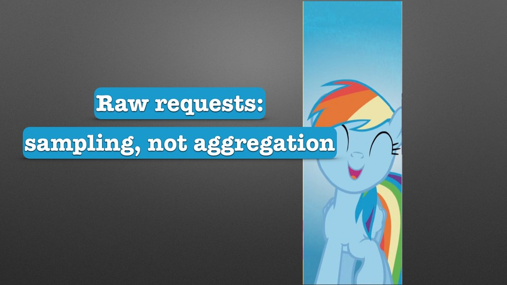 sampling, not aggregation Raw requests: