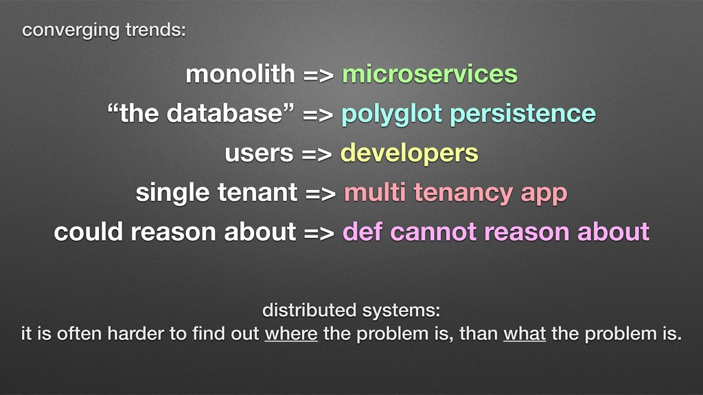 """monolith => microservices """"the database"""" => pol..."""