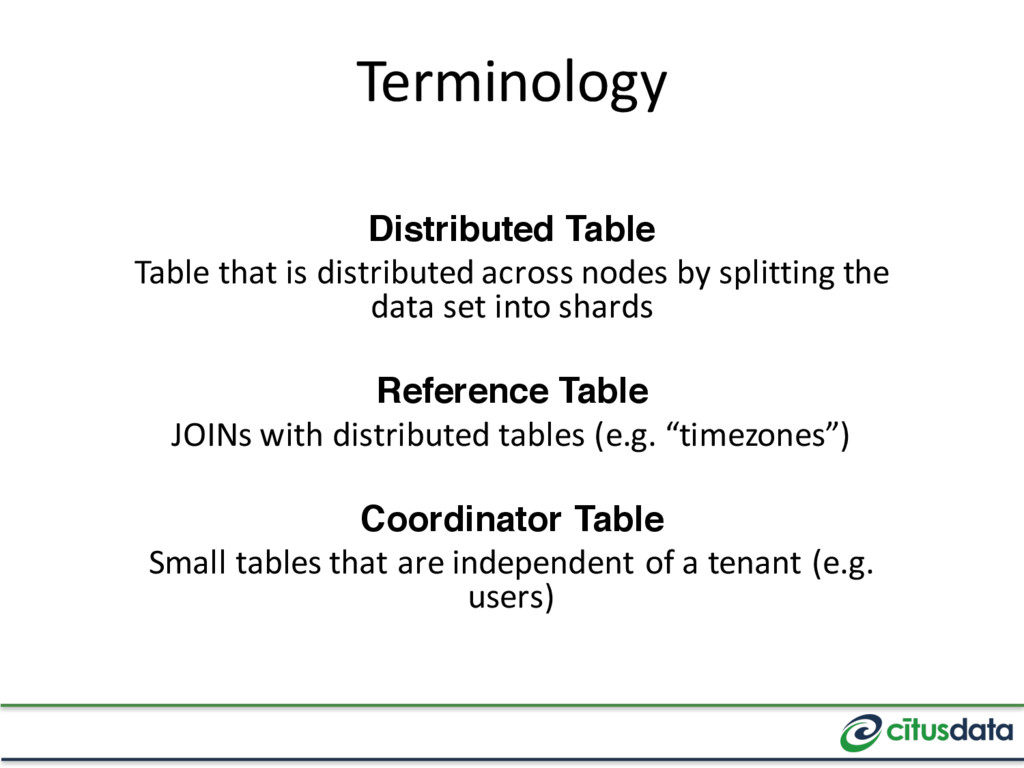 Terminology Distributed Table Table that is dis...
