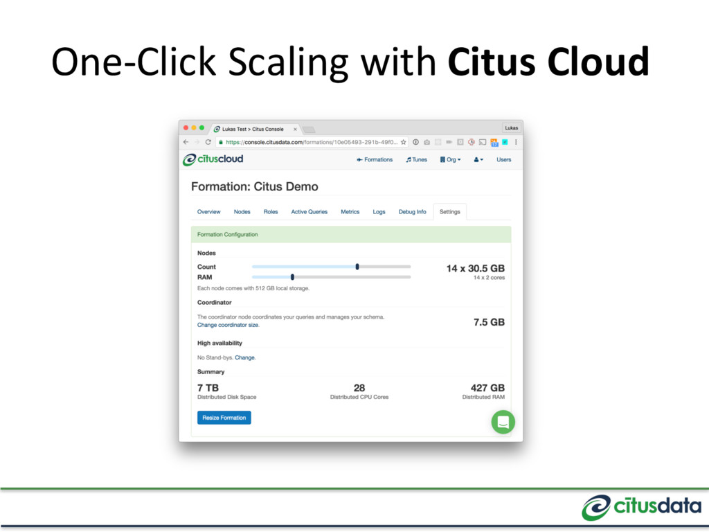 One-Click Scaling with Citus Cloud