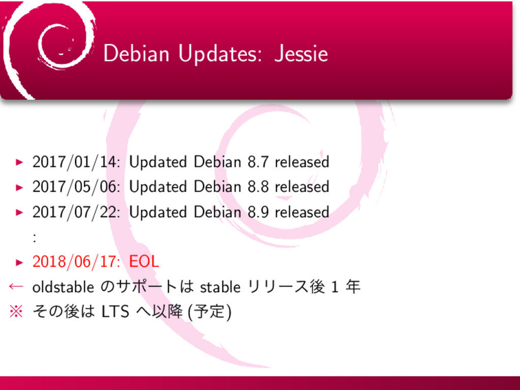 Debian Updates: Jessie ▶ 2017/01/14: Updated De...