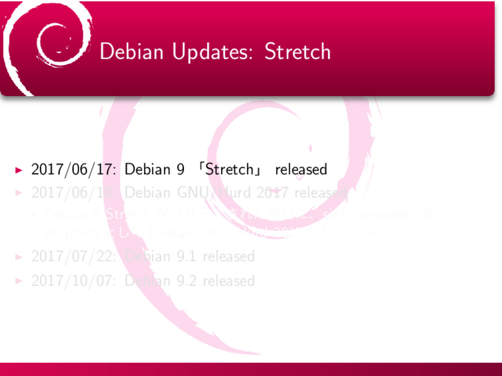Debian Updates: Stretch ▶ 2017/06/17: Debian 9 ...