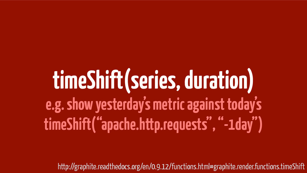 timeShift(series, duration) e.g. show yesterday...