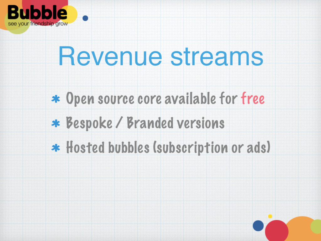 Revenue streams Open source core available for ...