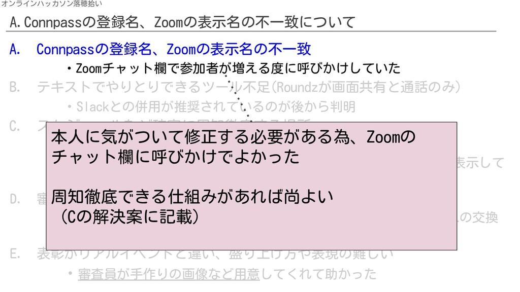 A.Connpassの登録名、Zoomの表示名の不一致について オンラインハッカソン落穂拾い ...