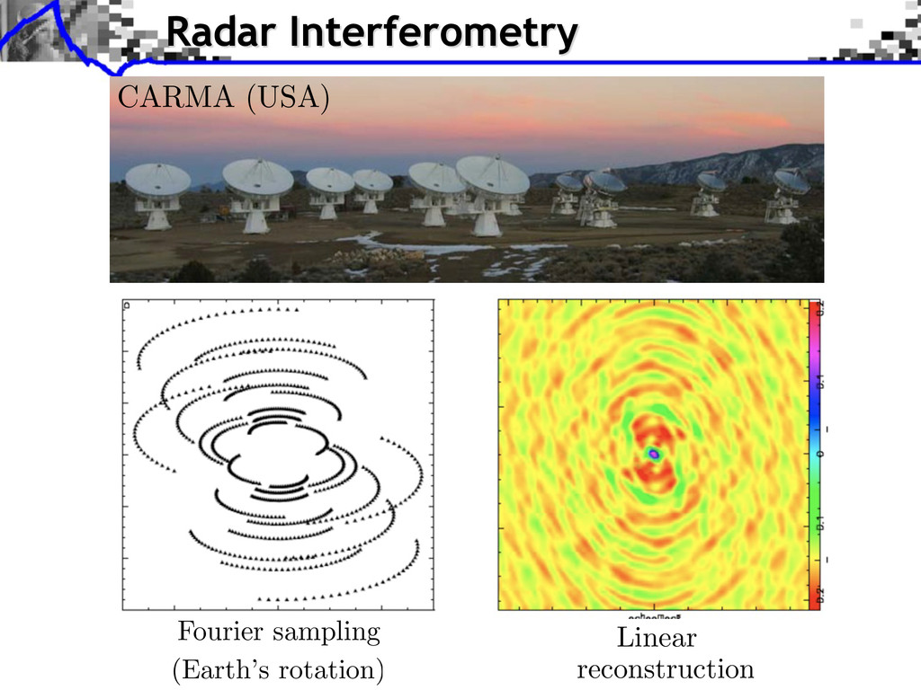 Fourier sampling (Earth's rotation) Linear reco...