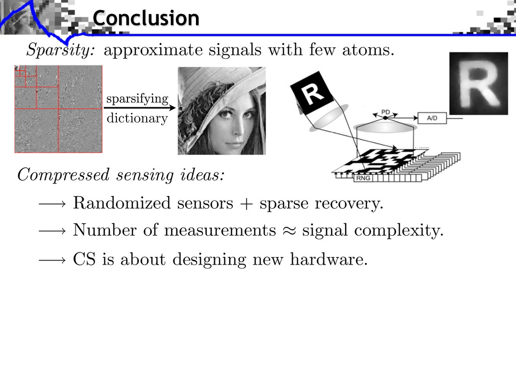 Randomized sensors + sparse recovery. Number of...