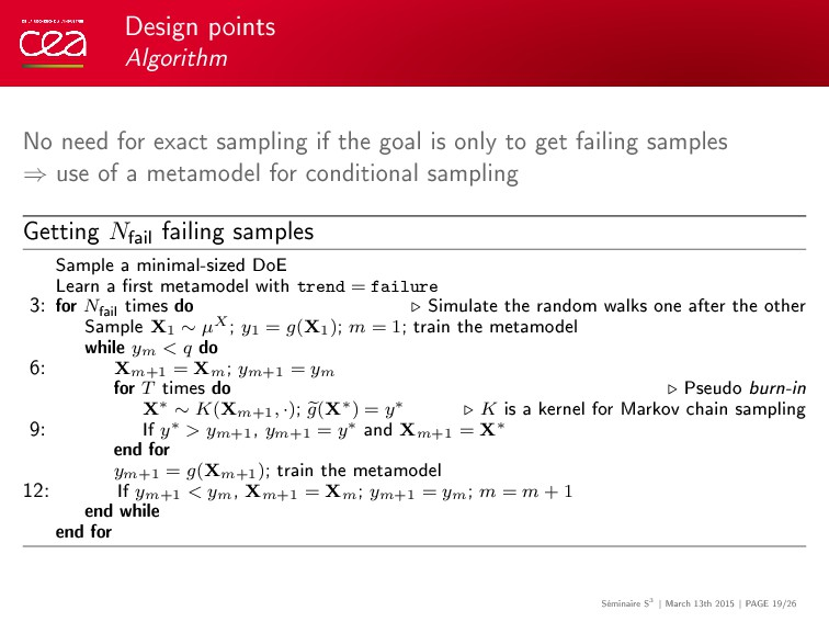 Design points Algorithm No need for exact sampl...