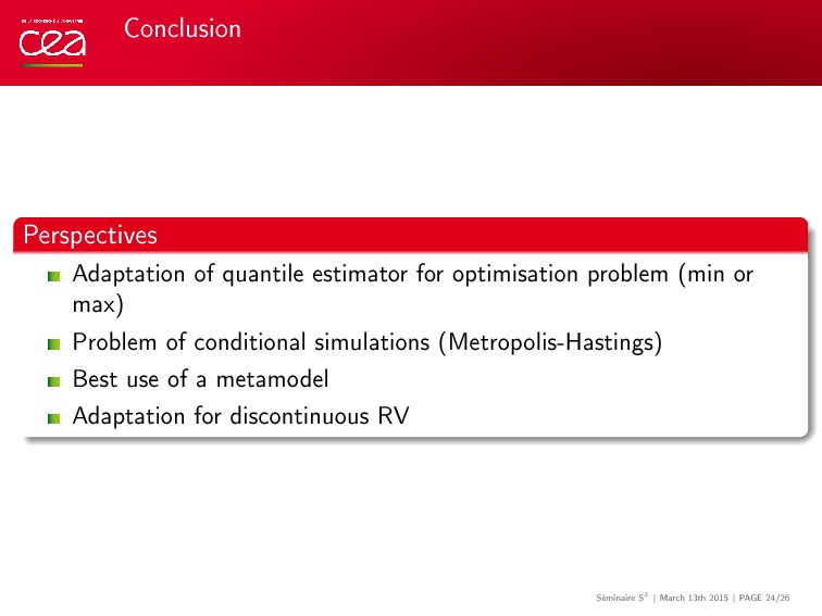 Conclusion Perspectives Adaptation of quantile ...