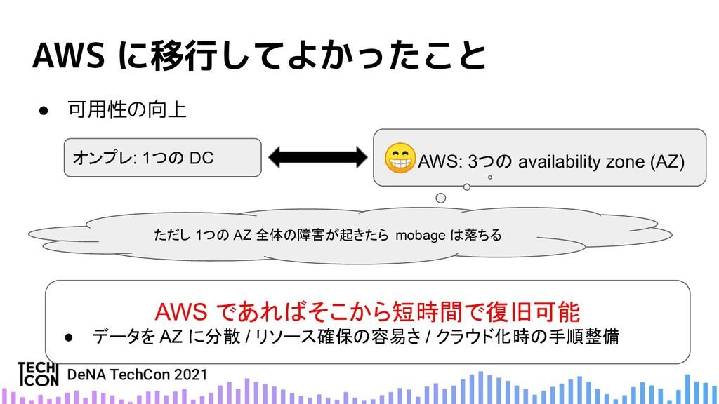 AWS に移行してよかったこと ● 可用性の向上 オンプレ: 1つの DC 😁AWS: 3つの...