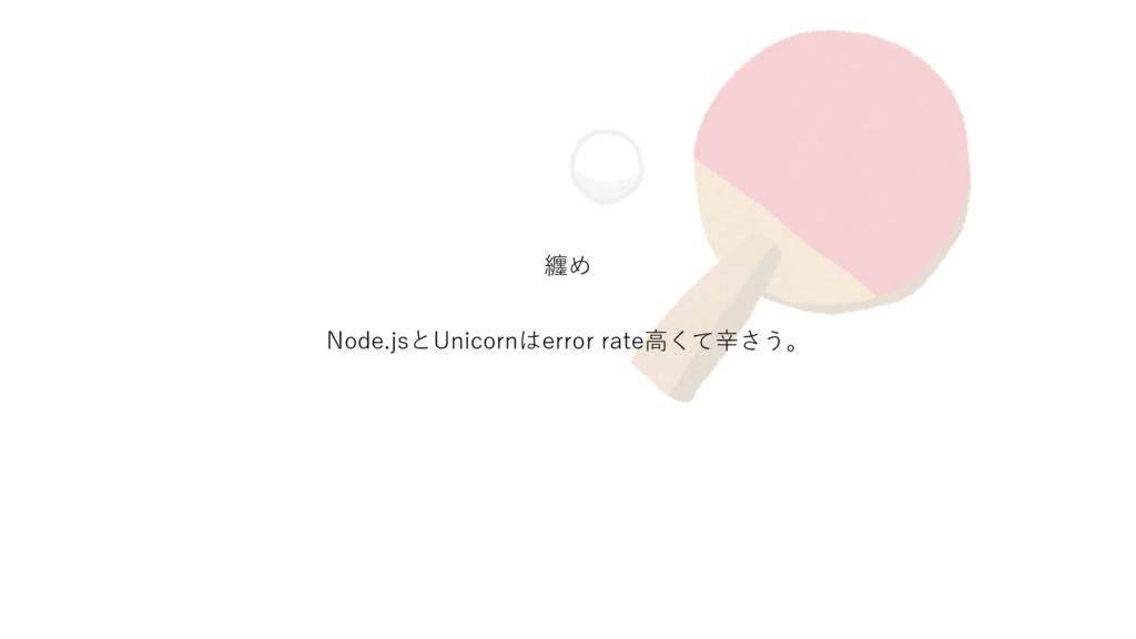纏め Node.jsとUnicornはerror rate⾼くて⾟さう。