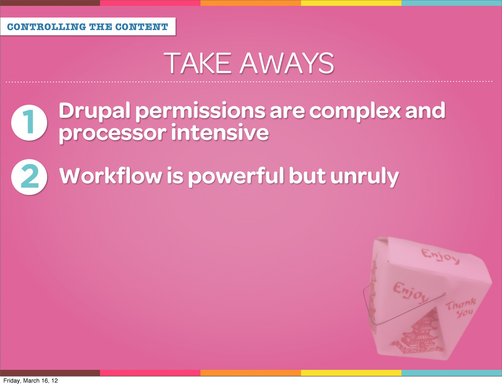 CONTROLLING THE CONTENT TAKE AWAYS 1 Drupal per...