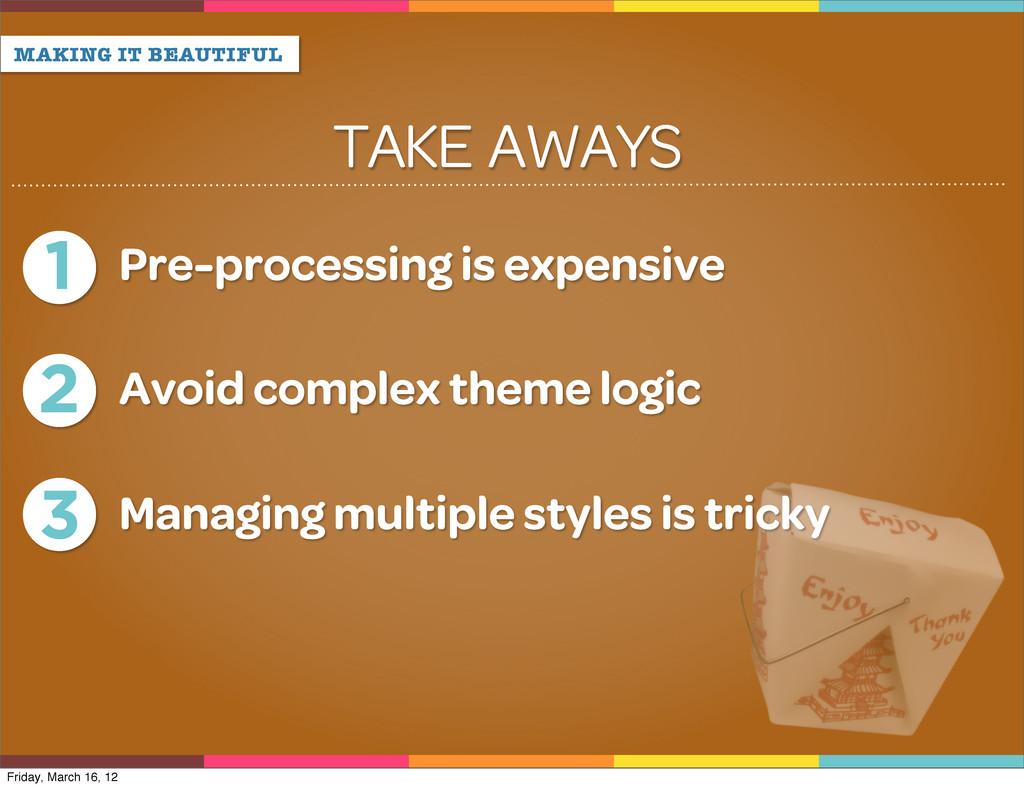 TAKE AWAYS MAKING IT BEAUTIFUL 1 Pre-processing...