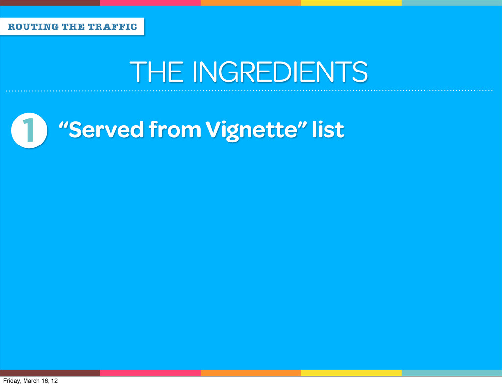 """ROUTING THE TRAFFIC THE INGREDIENTS 1 """"Served f..."""