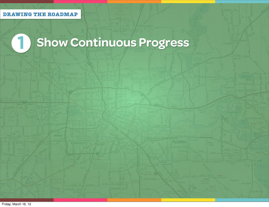 DRAWING THE ROADMAP 1 Show Continuous Progress ...