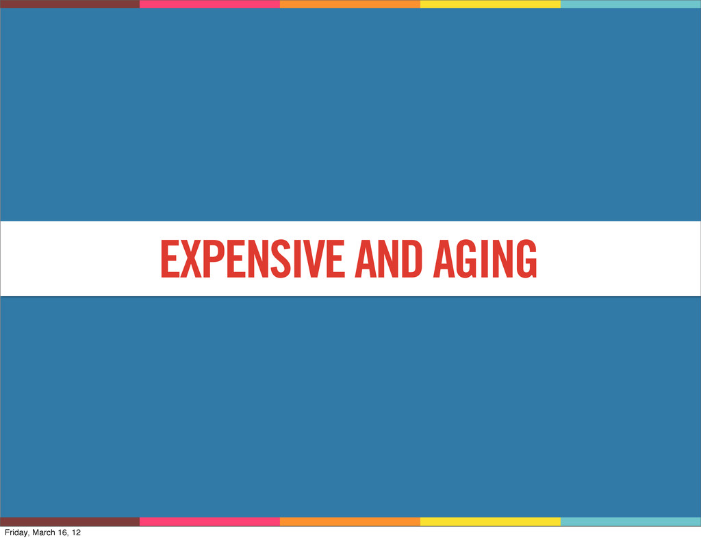 WHY? EXPENSIVE AND AGING Friday, March 16, 12