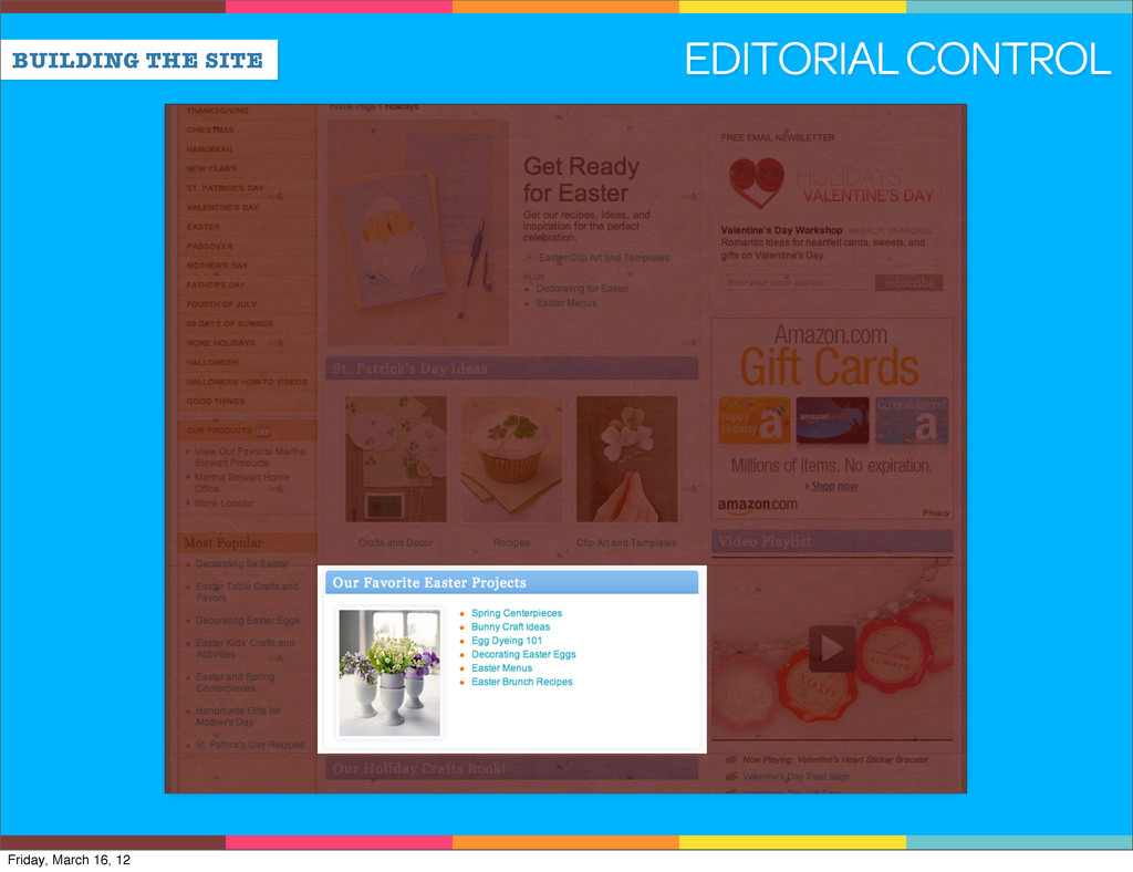 BUILDING THE SITE EDITORIAL CONTROL Friday, Mar...