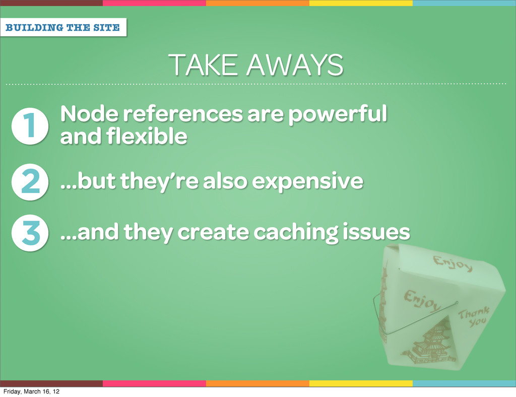 BUILDING THE SITE TAKE AWAYS 1 Node references ...
