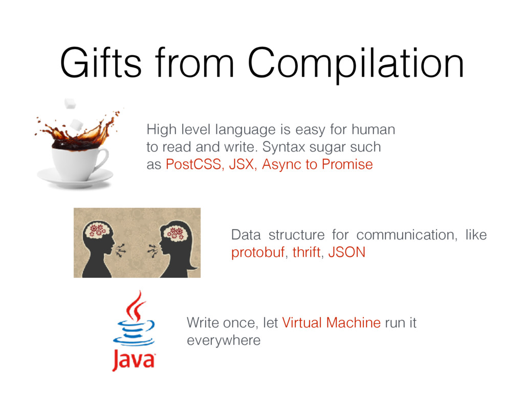 Gifts from Compilation High level language is e...