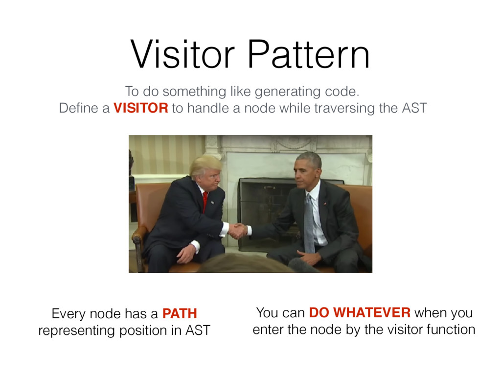 Visitor Pattern To do something like generating...
