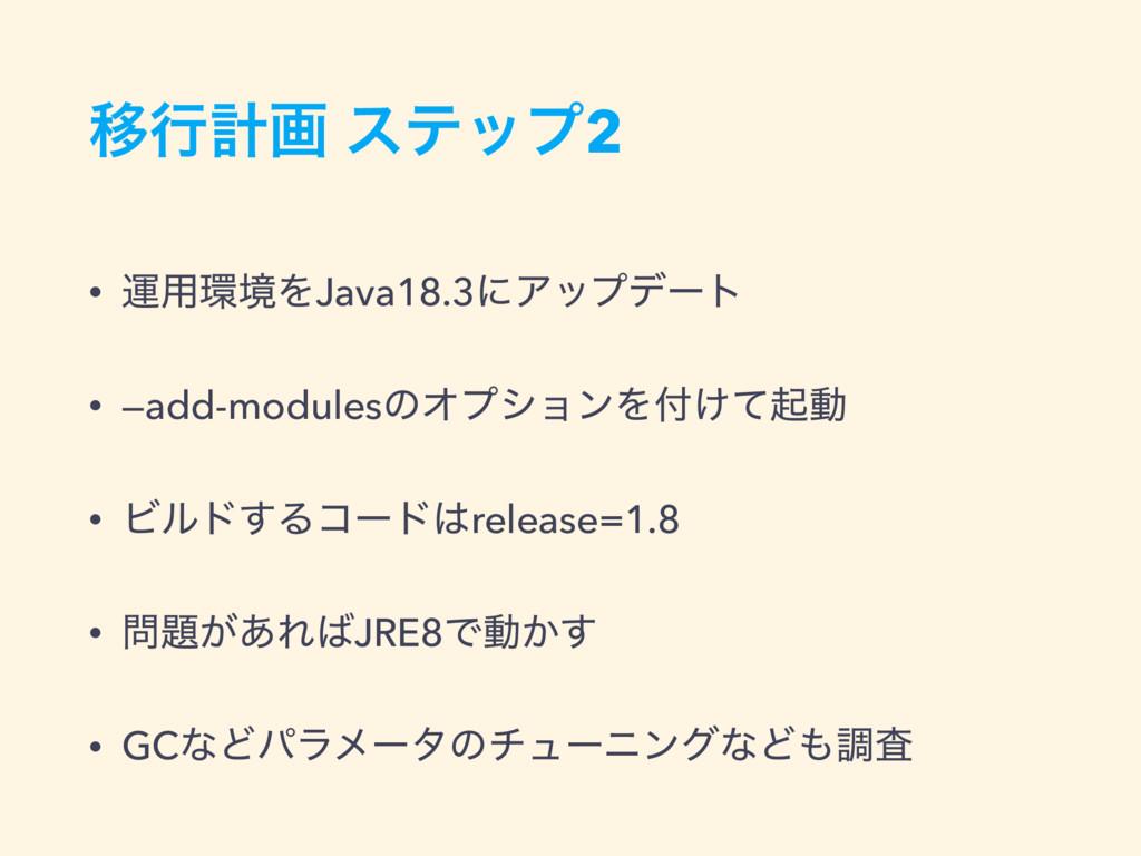 Ҡߦܭը εςοϓ2 • ӡ༻ڥΛJava18.3ʹΞοϓσʔτ • —add-module...
