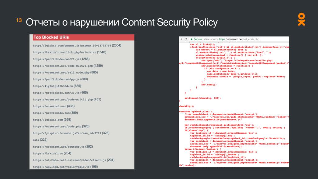 13 Отчеты о нарушении Content Security Policy