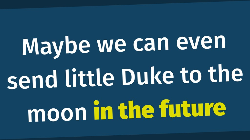 Maybe we can even send little Duke to the moon ...