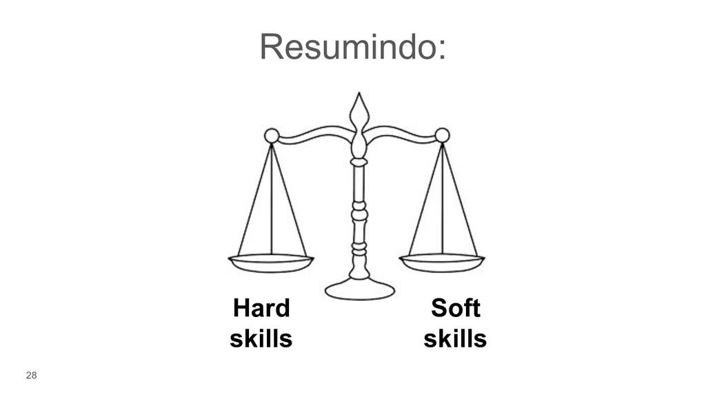 28 Resumindo: Hard skills Soft skills