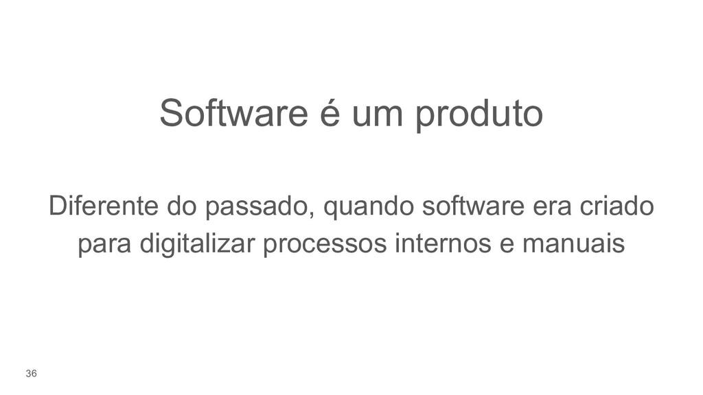 36 Software é um produto Diferente do passado, ...