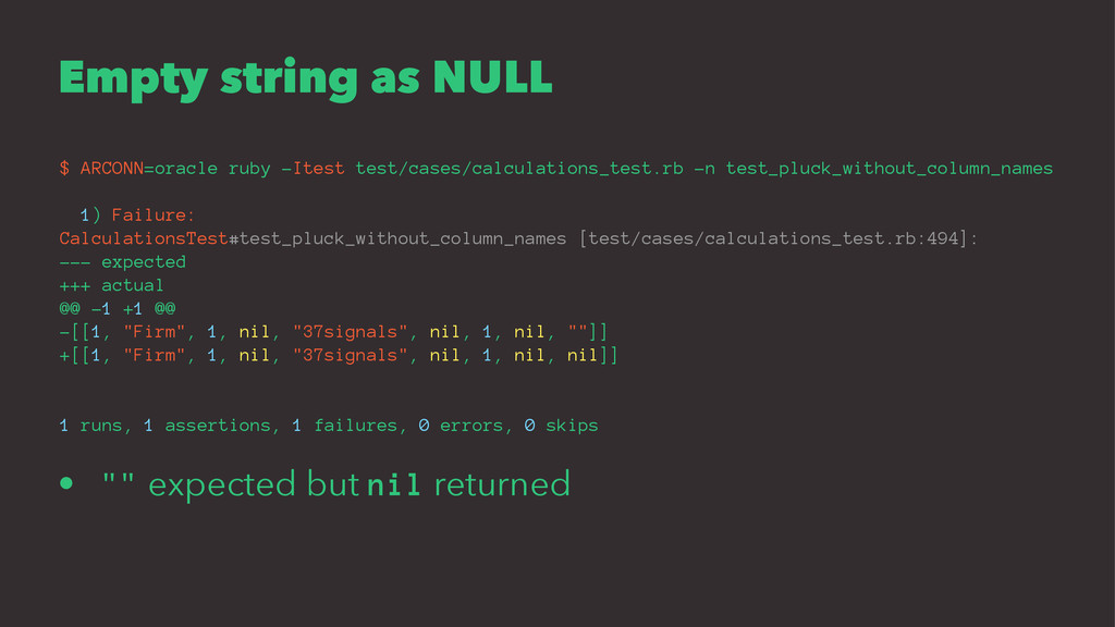 Empty string as NULL $ ARCONN=oracle ruby -Ites...