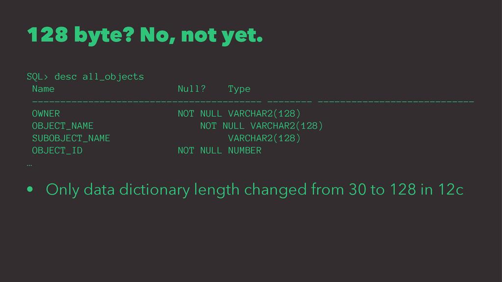 128 byte? No, not yet. SQL> desc all_objects Na...