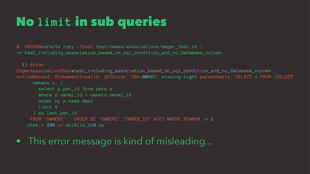 No limit in sub queries $ ARCONN=oracle ruby -I...