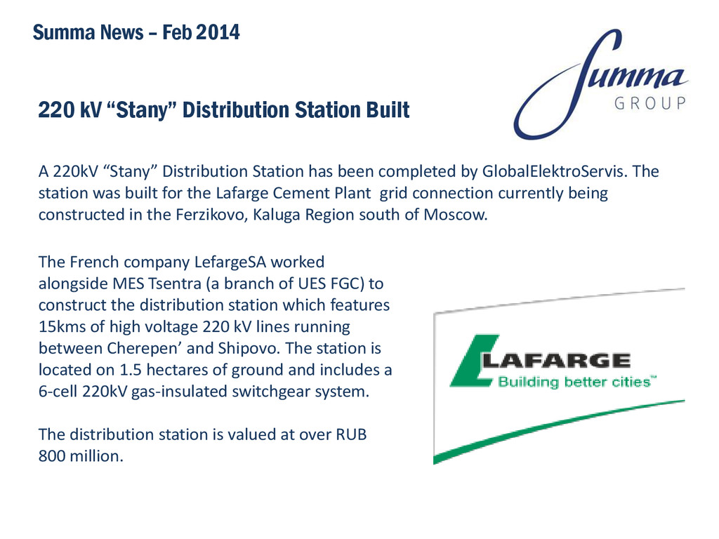 "220 kV ""Stany"" Distribution Station Built A 220..."