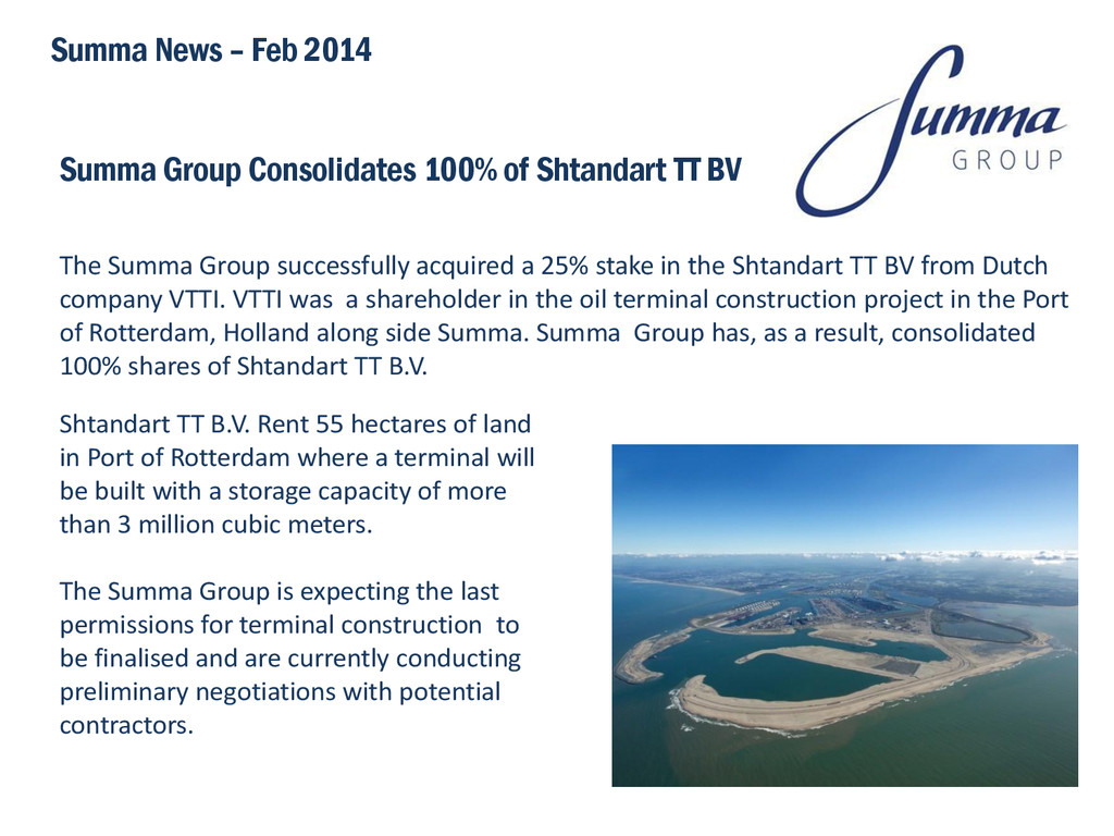 Summa Group Consolidates 100% of Shtandart TT B...