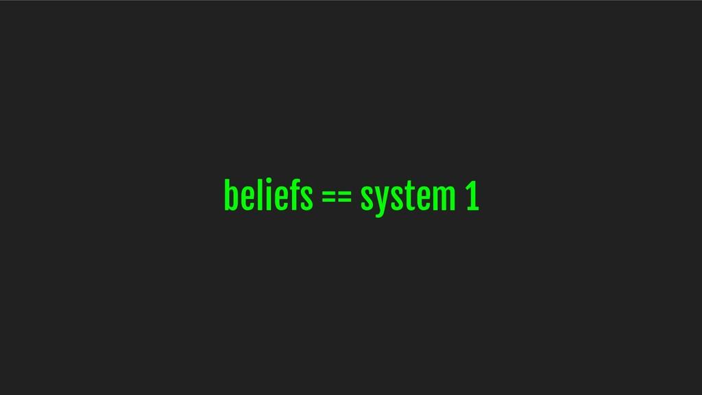 beliefs == system 1