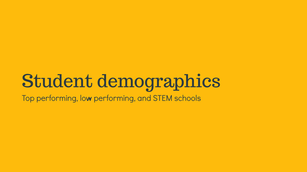 Student demographics Top performing, low perfor...