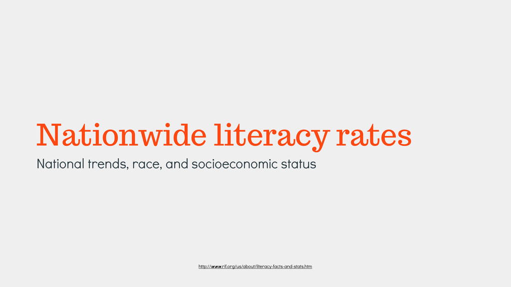 Nationwide literacy rates National trends, race...