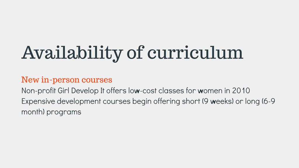 Availability of curriculum ! New in-person cour...