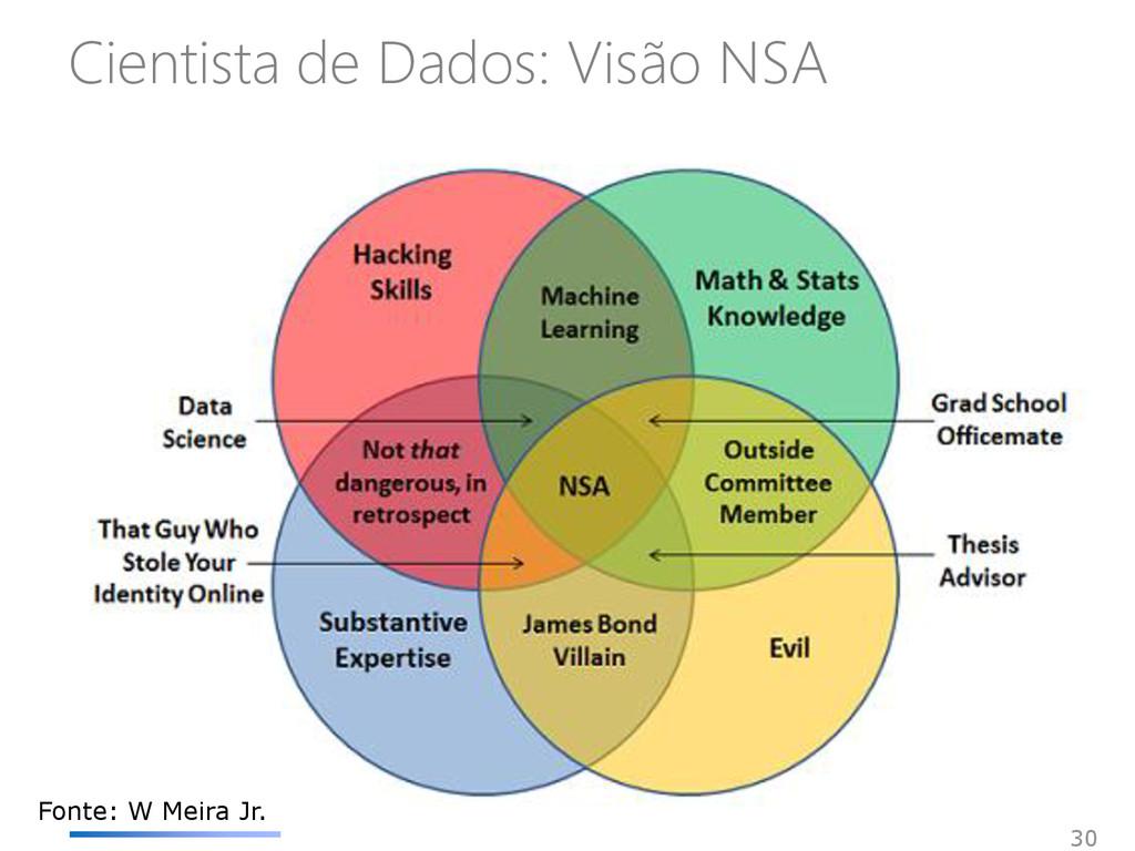 Cientista de Dados: Visão NSA 30 Fonte: W Meira...