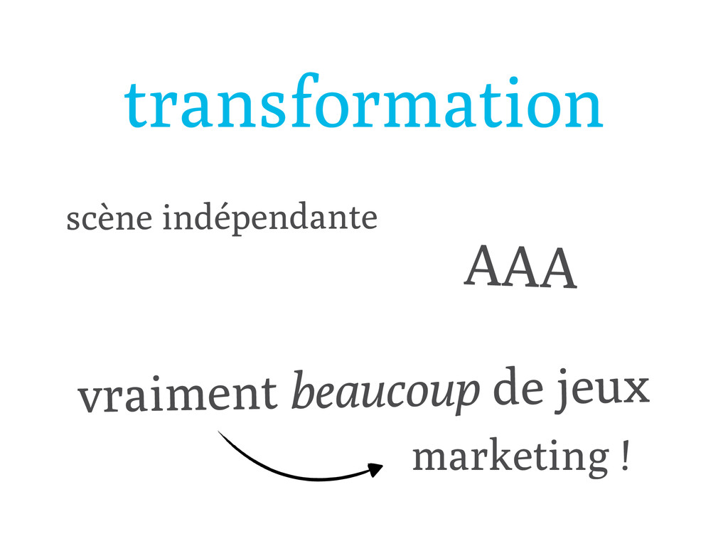 transformation scène indépendante AAA vraiment ...